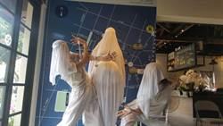 台南新藝獎挪威藝術家安.蘭扮裝孕婦 藍晒圖行動演繹