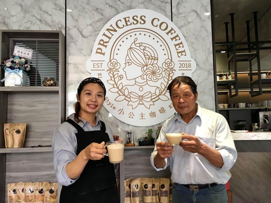 王麗靜(左)回山上開小公主咖啡館,與父親王秋忠一起打拚。(廖素慧攝)