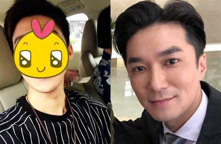 中天主播王又正(右)被發現意外撞臉28歲男歌手。(圖/翻攝自臉書)