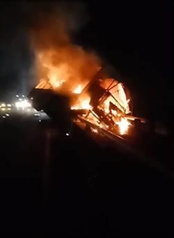 影》國道1號北向226公里火燒車 1人受傷