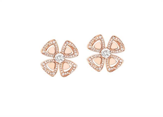 寶格麗FIOREVER系列玫瑰金鑽石耳環,約26萬1700元。(BVLGARI提供)