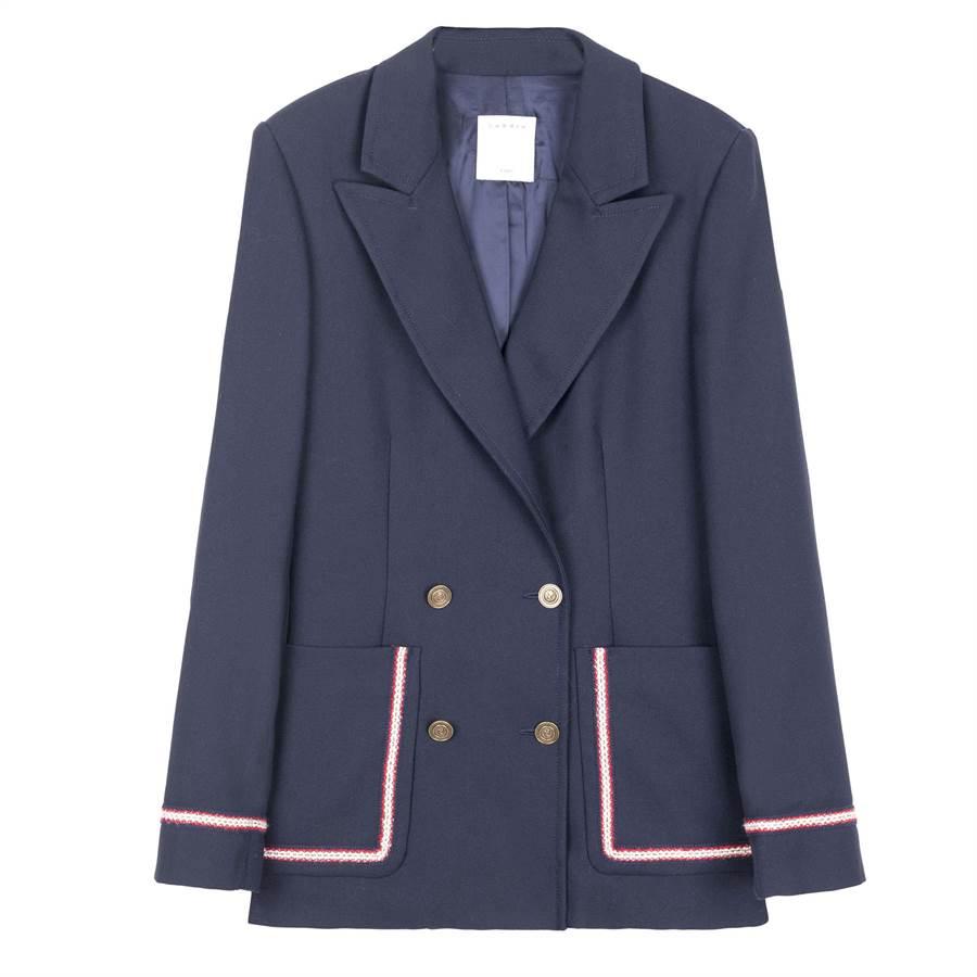 Sandro下襬滾邊深藍色西裝外套,1萬5070元。(Sandro提供)