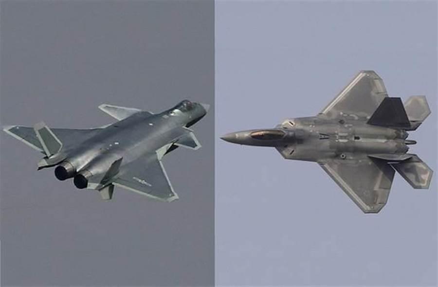 殲20(左)與F22(右)都是非常花錢的高科技戰機,在發動機使用壽命上,殲20卻只有F22的1/4。(圖/合成圖)