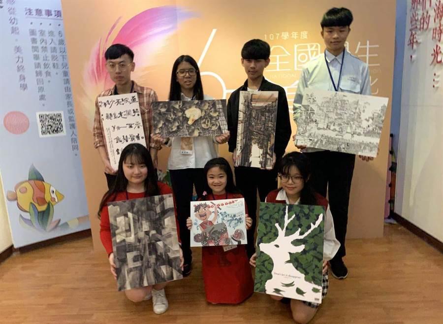 全國學生美術優勝作品舉辦巡迴展,讓各地民眾輪番欣賞。(林雅惠翻攝)