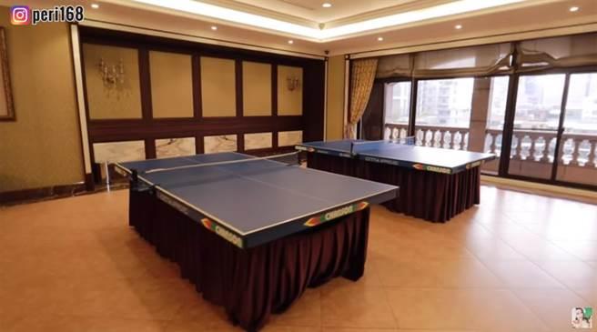 桌球室。(圖片翻攝自YouTube/百變沛莉 Peri)