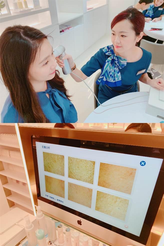 這個超高晰肌膚檢測儀器能透過50倍高清放大肌膚表層、底層與毛孔深層狀態,讓肉眼看不見的潛在問題無所遁形。(圖/編輯攝影)