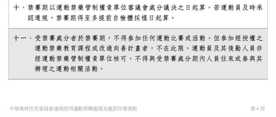 中華奧會《違規使用運動禁藥處理及處罰作業要點》第11條。(網?#26041;?#22294;)