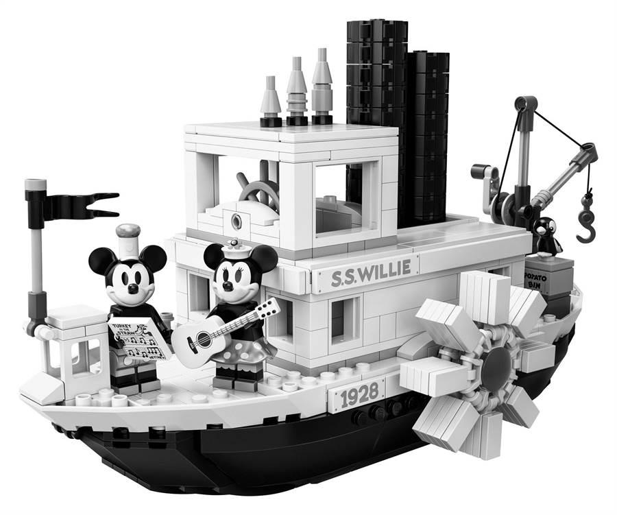 LEGO「米奇的蒸汽船威利號」細節重現動畫場景。(品牌提供)