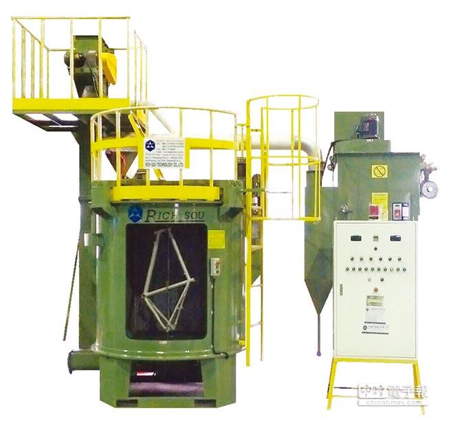 大鎪腳踏車架專用珠擊機系統。圖/大鎪科技提供