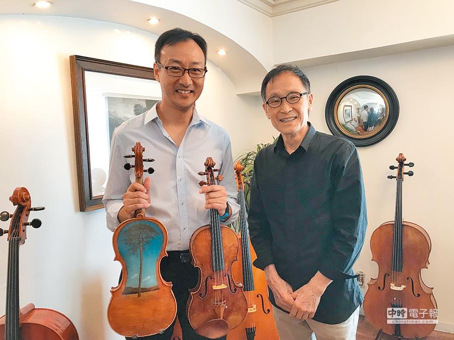 宏潤生技贊助日本海嘯慈善音樂會;圖右為海嘯提琴製琴師中澤宗幸、圖左為台灣奇岩室內樂團首席唐國維。圖/奇岩室內樂團