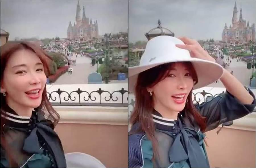 林志玲雀躍現身上海迪士尼。(圖/取材自林志玲微博)