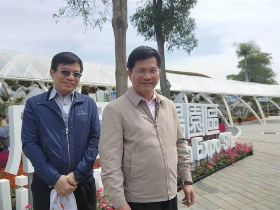 林佳龍(右)對黨內參選人有信心,在2020總統大選「團結勝選」。(陳淑娥攝)