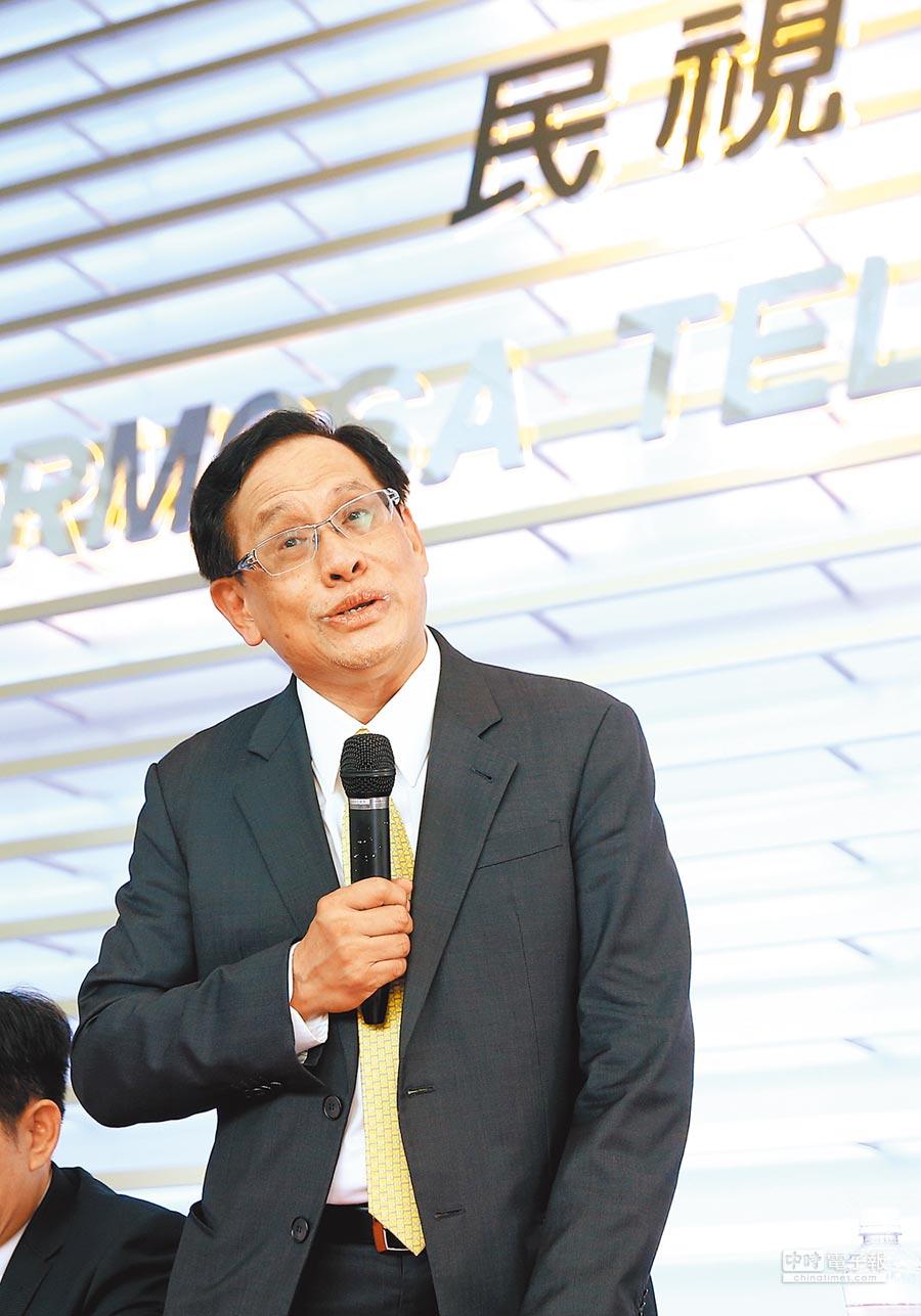 民視董事長郭倍宏在民視總部召開臨時記者會。(粘耿豪攝)