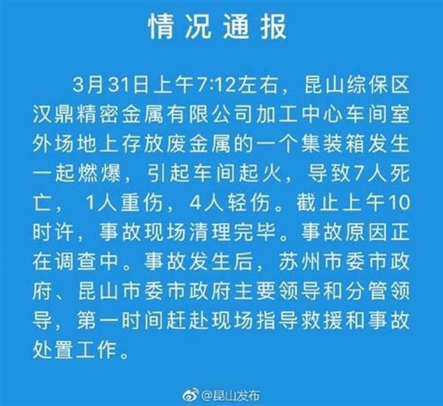 陸江蘇警方發布相關資訊。(圖/取自微博)