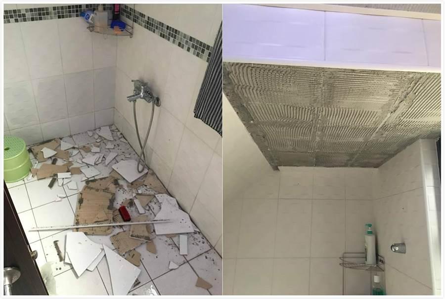 洗澡洗一半天花板突掉落讓網驚呆。(翻攝爆廢公社)