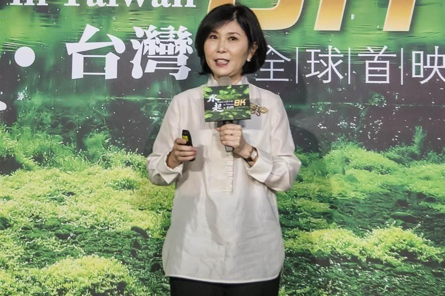 台灣第一支超高畫質環境紀錄片《水起‧台灣》31日首映,台達電子文教基金會副董事長郭珊珊說明此片內容及拍攝歷程。(林欣儀攝)