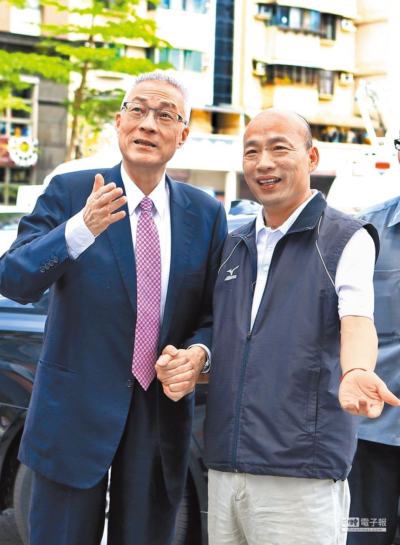國民黨主席吳敦義受訪表示,將在下月10日前與高雄市長韓國瑜碰面,韓告知「希望能有多一點時間談」。圖為2017年5月黨主席選舉後,吳拜會同樣角逐黨主席失利的韓。(本報資料照片)