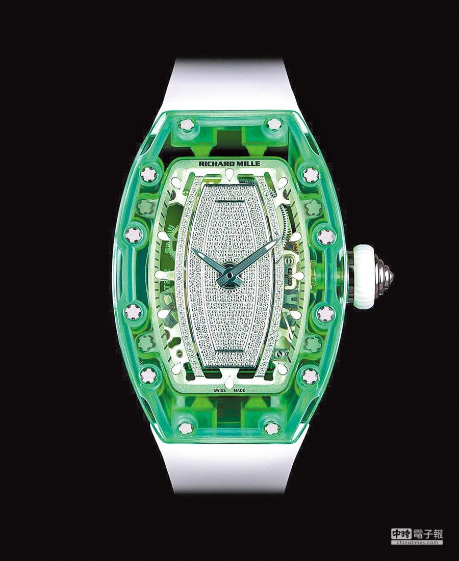 Richard Mille粉綠色藍寶石水晶RM 07-02表。(Richard Mille提供)