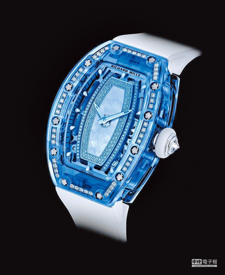 Richard Mille粉藍色RM 07-02鑽表,可在藍寶石水晶上鑲嵌鑽石。(Richard Mille提供)