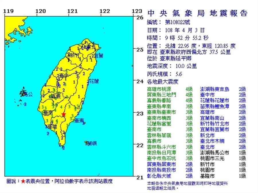 今天早上9點52分,發生規模5.6有感地震,震央在台東縣延平鄉深度10公里。(翻攝自中央氣象局)