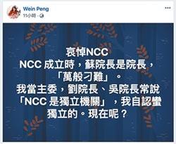 政治力介入 前主委彭芸哀悼NCC