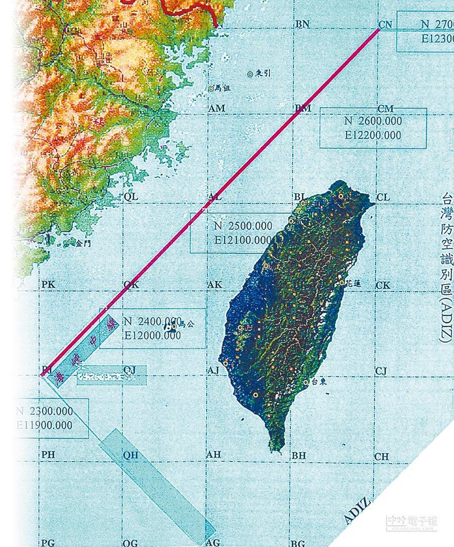 台灣海峽中線示意圖。(本報系資料照片)
