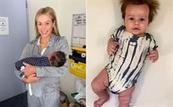 怒髮衝冠男嬰 4個月大髮量太驚人