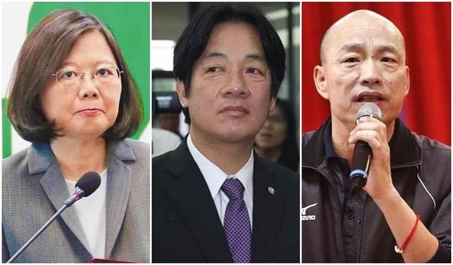 蔡英文總統(左)、前閣揆賴清德(中)、高雄市長韓國瑜(右)。(本報系資料照片)
