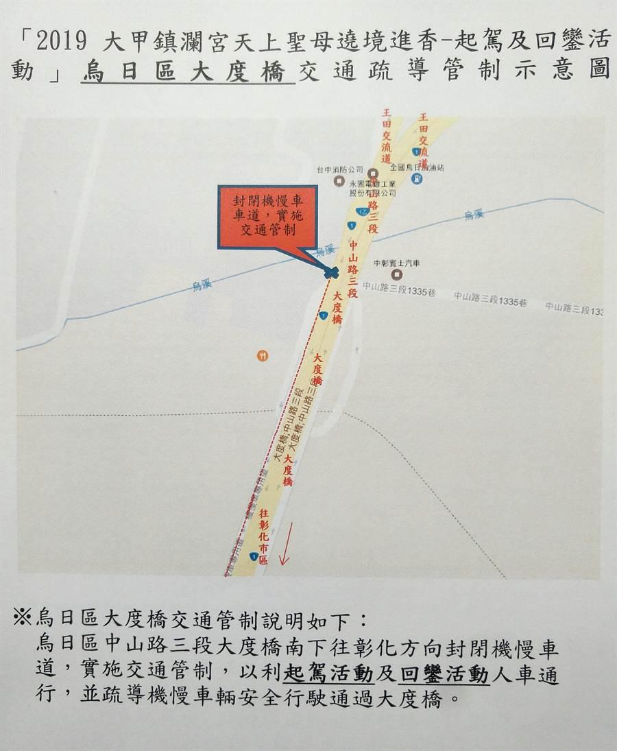 大甲媽組遶境,行經烏日區大度橋的行車管制區。(黃國峰翻攝)