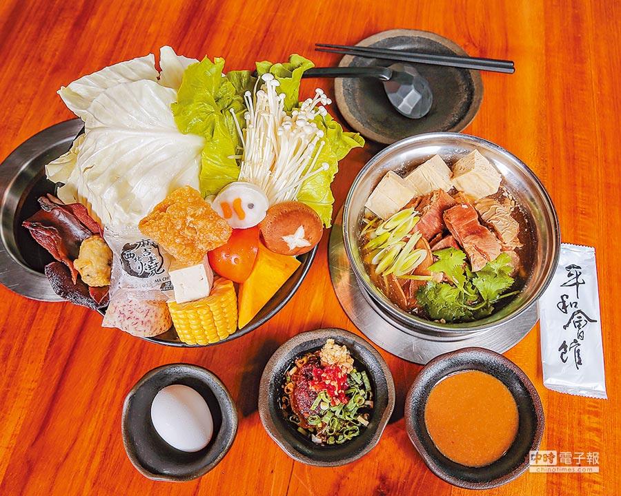 「家傳薑燒羊肋排」也是平和會館獨創招牌鍋款,羊肉軟嫩入味,湯頭甘醇順口。(盧禕祺攝)
