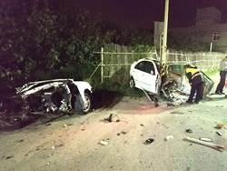疑車速過快 撞電線桿車子斷兩截