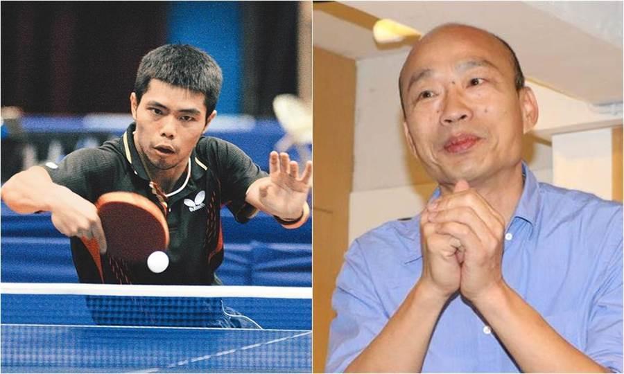 高雄四月代言人是莊智淵(圖左者)!要跟韓國瑜尬桌球。(圖左/高雄巿體育處提供、資料照)