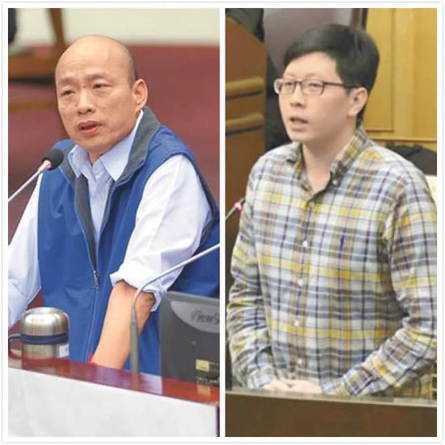 桃園市議員王浩宇(右)頻批高雄市長韓國瑜(左)。(合成圖/中時資料照)