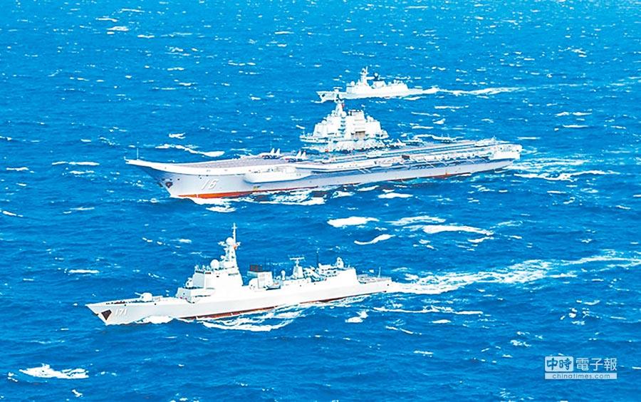 大陸遼寧號航母編隊航行情形。(取自中國軍網)