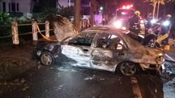 離奇!無業男自撞路樹火燒車 受困車內燒成白骨