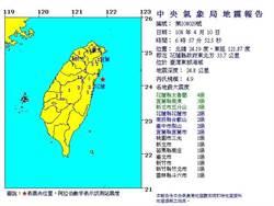 花蓮4連震 氣象局:2次是去年0206的餘震
