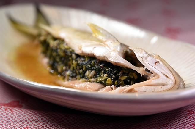 〈丰禾日麗〉的〈雪菜蒸午魚〉是將味道鹹香鮮的雪菜,鑲嵌在午魚的魚腹中蒸熟,魚肉細緻、風味很好。(圖/姚舜)