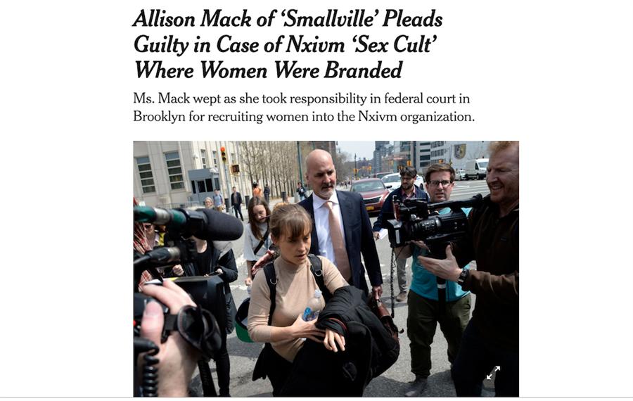 《紐約時報》持續追蹤此邪教的相關消息,預估艾莉森最長可能必須服刑20年。(截自紐時網站)