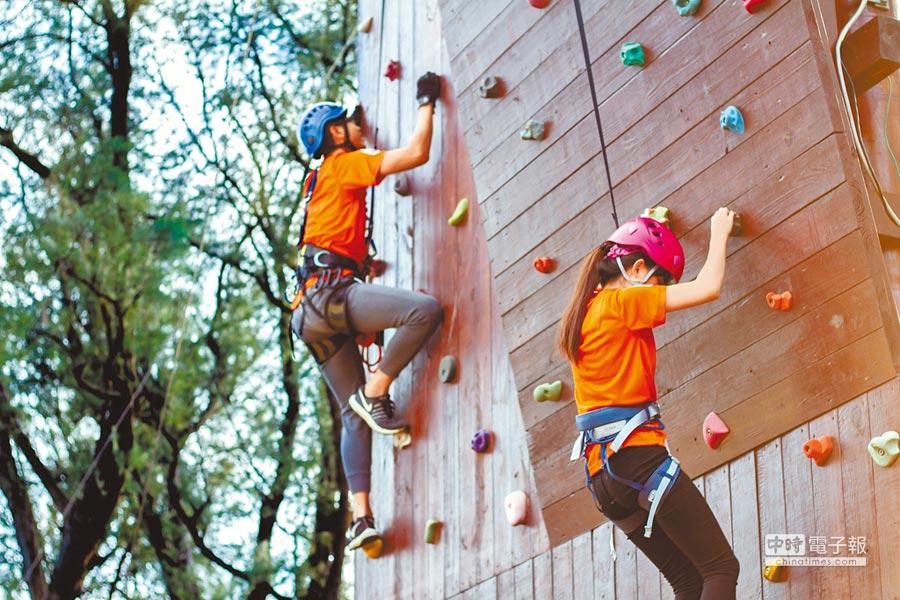 桃園青年體驗學習園區預計13日開幕,設置戶外43項高低空設施,全經美國ACCT認證,最高落差達9公尺。(蔡依珍攝)