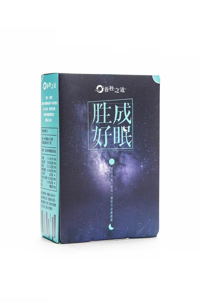 「胜成好眠」一盒裡面有7包,每天晚飯前後可搭配250cc的冷溫開水食用,持續使用一週,明顯改善睡眠品質。(圖片來源: 鈦陞國際有限公司提供)