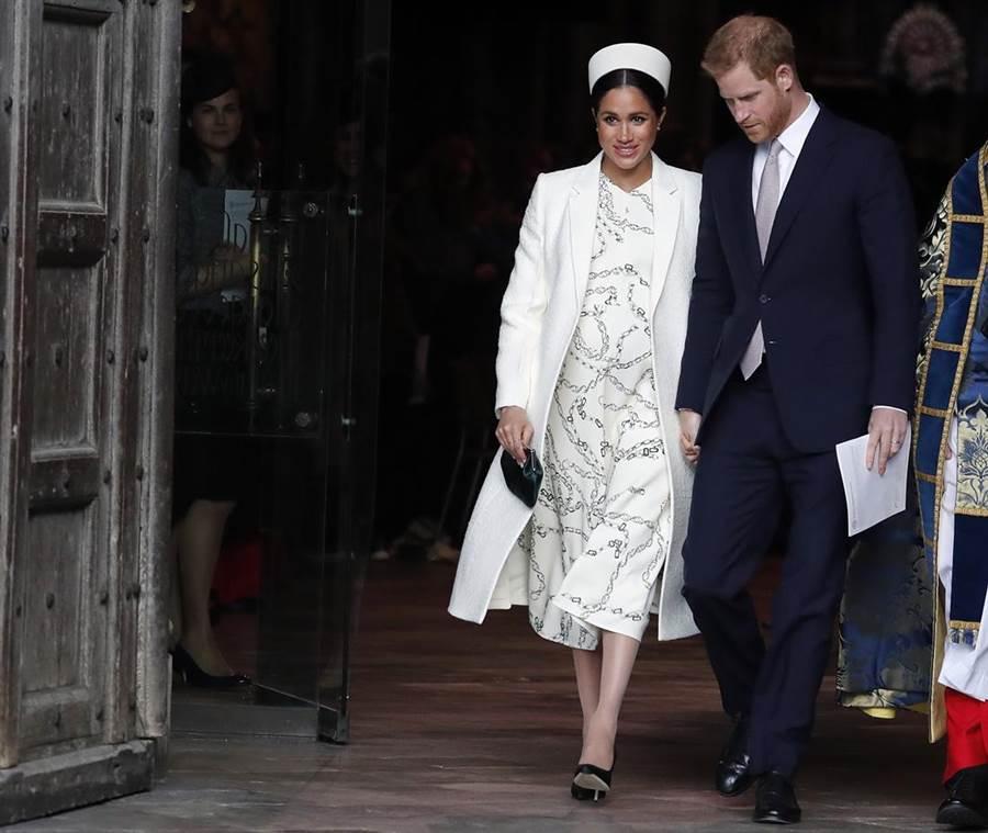 哈利王子與梅根即將於4月底、5月初迎接第一個孩子,外界持續熱議可能的寶寶名字。(圖/美聯社)