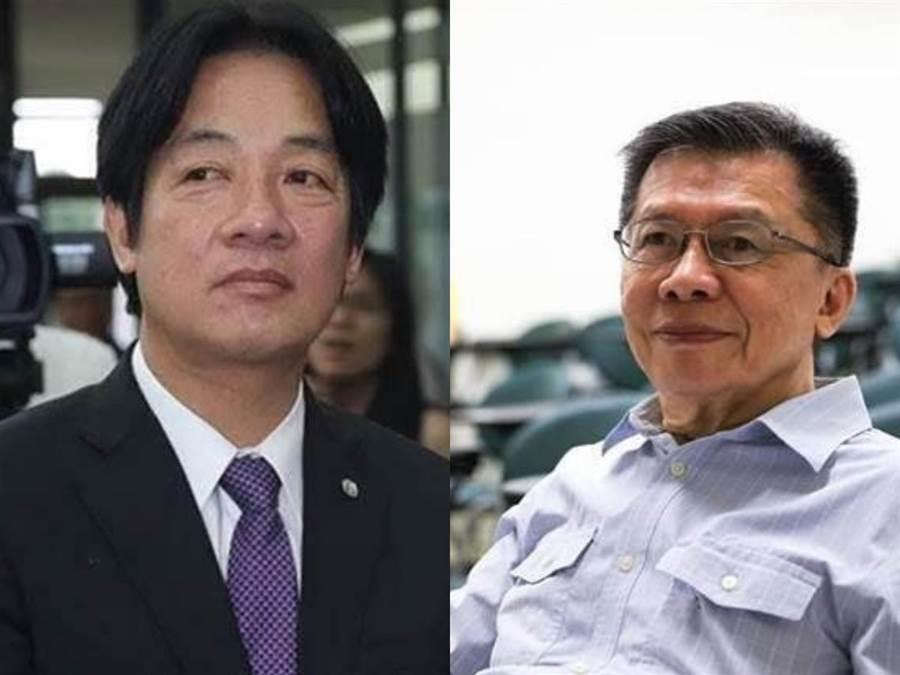 前行政院長賴清德(左)、前民進黨立委沈富雄(右)。(圖/合成照;本報系資料照、沈富雄臉書)