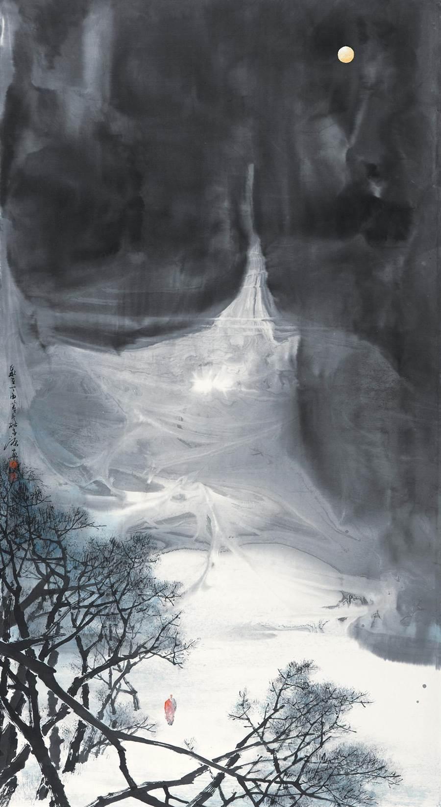 林富源水墨作品「月夜寒山圖」。(沈揮勝攝)