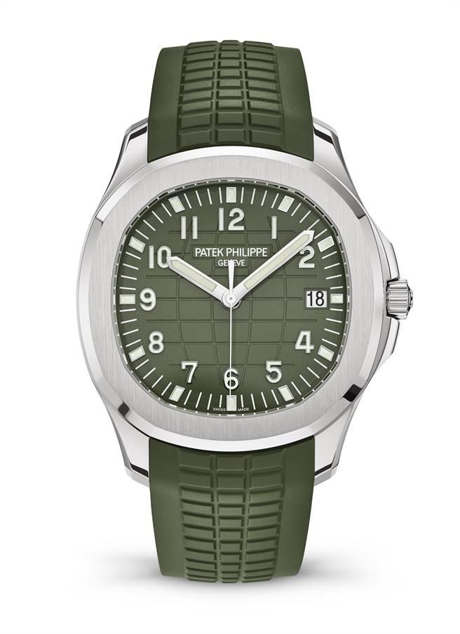 百達翡麗Aquanaut 5168G系列換上綠色表盤,色調溫潤優雅時尚,120 萬7000元。(Patek Philippe提供)