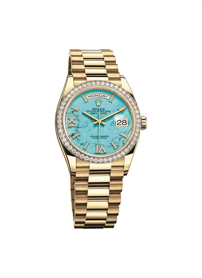 勞力士Oyster Perpetual Day-Date 36腕表大玩表殼與表面對比色,黃金表殼搭藍色綠松石表盤。(Rolex提供)