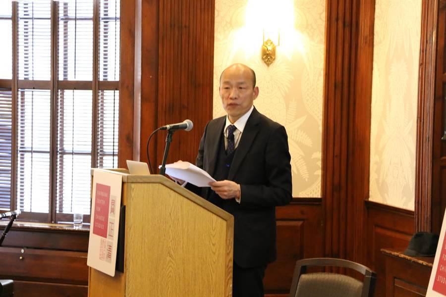 高雄市長韓國瑜在哈佛大學進行閉門演講,台下約4、50人聆聽。(林宏聰翻攝)