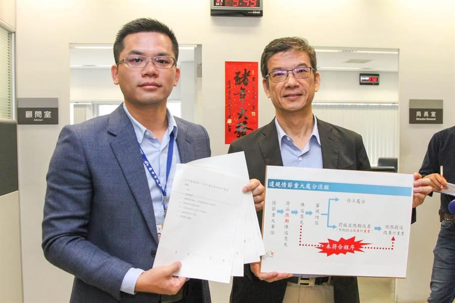 台中市新聞局長吳皇昇(左)12日舉行記者會抨擊「中火不符程序、沒有誠意!」其中「台中火力發電廠改善計畫書」只有薄薄3頁。(盧金足攝)