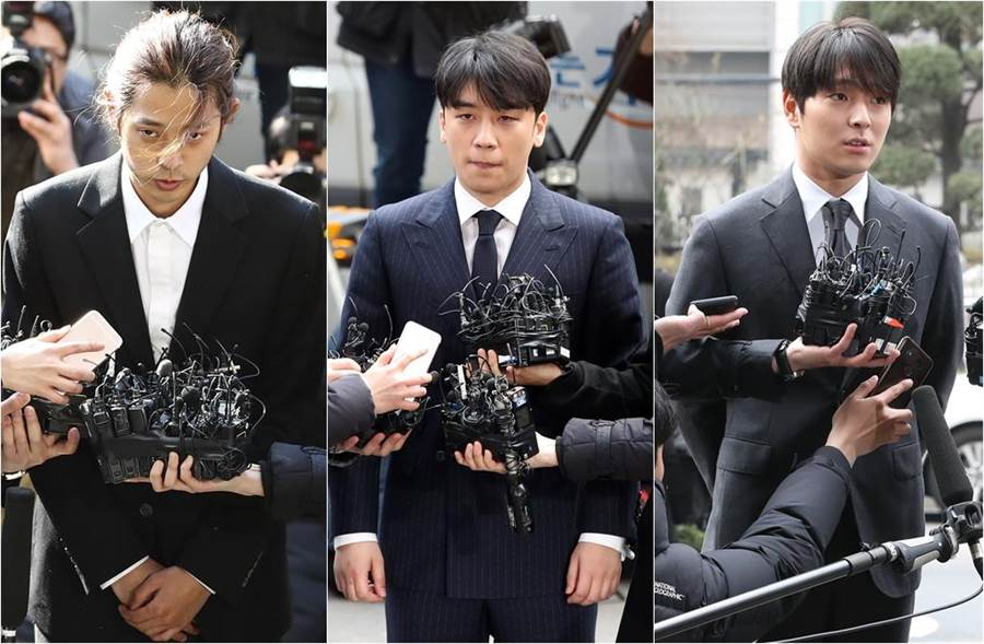 鄭俊英(左起)、勝利、崔鍾訓被許多電視台下令封殺。(圖/達志影像)