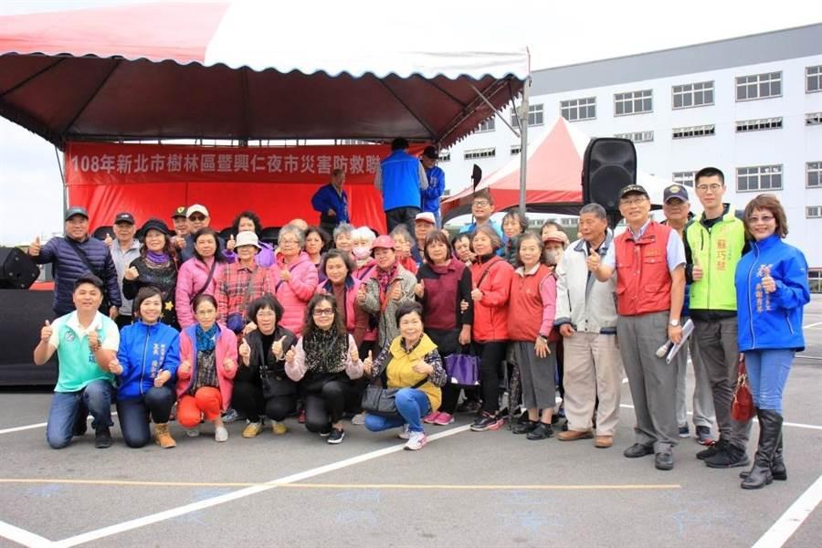 樹林興仁花園夜市舉辦「108年度樹林區複合式災害防救演練」。(樹林區公所提供)