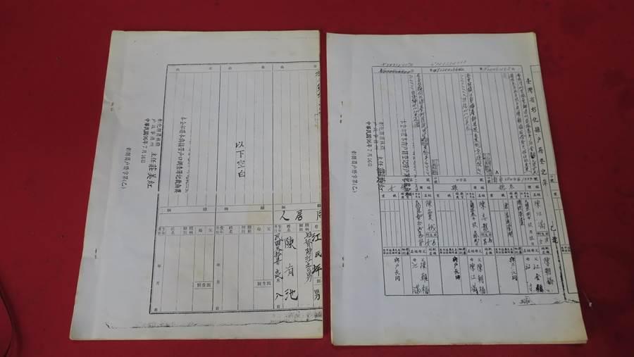 根據2007年申請的兩份戶籍資料顯示,日據時期戶口裡登記有叔叔陳有池,但光復後早已病故的叔叔並不在戶口內,也沒身分證字號,卻未被視為死亡,還可繼承遺產。(謝瓊雲攝)